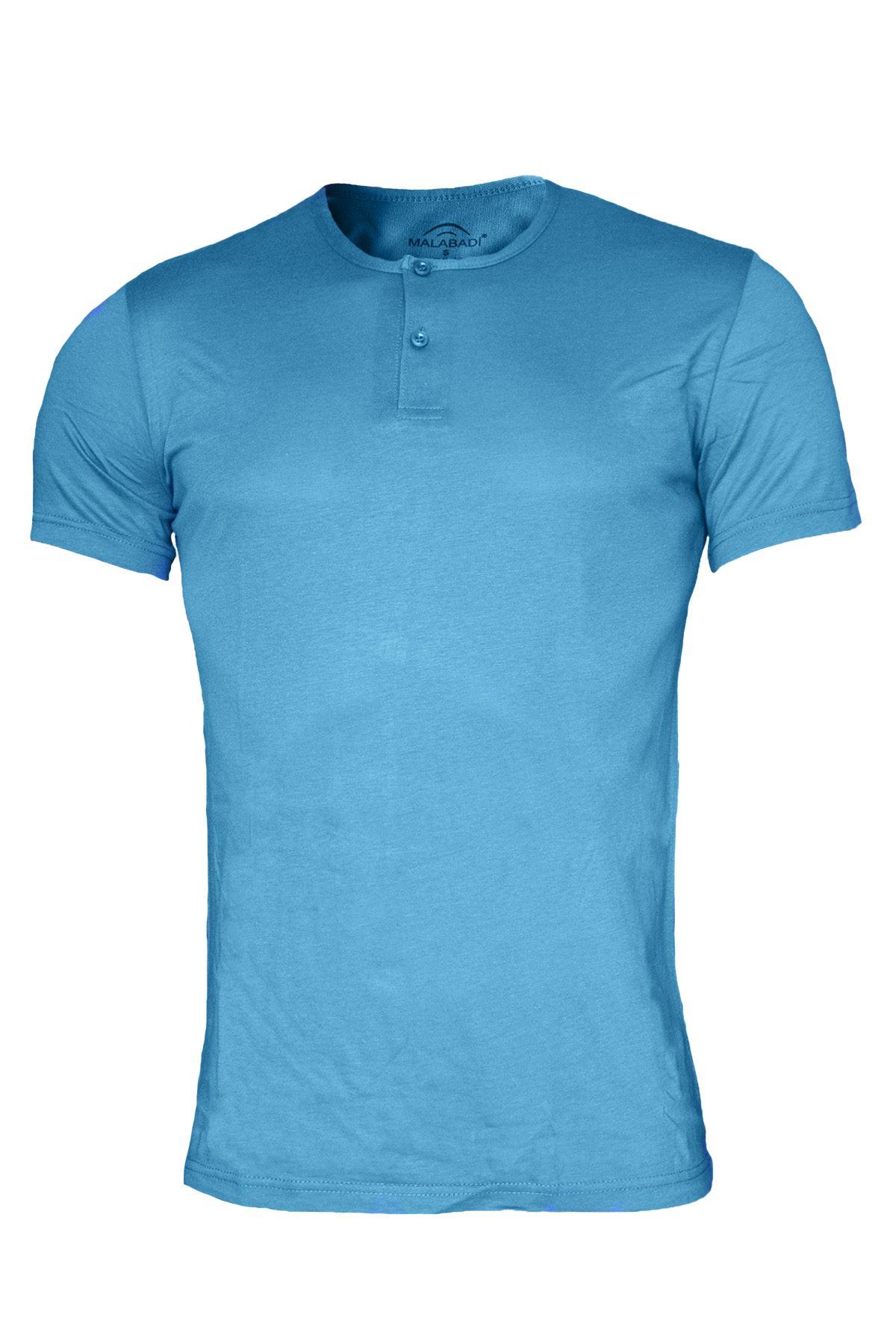 Mavi Erkek Düğmeli Yaka Yaz Serinliği Tshirt 083