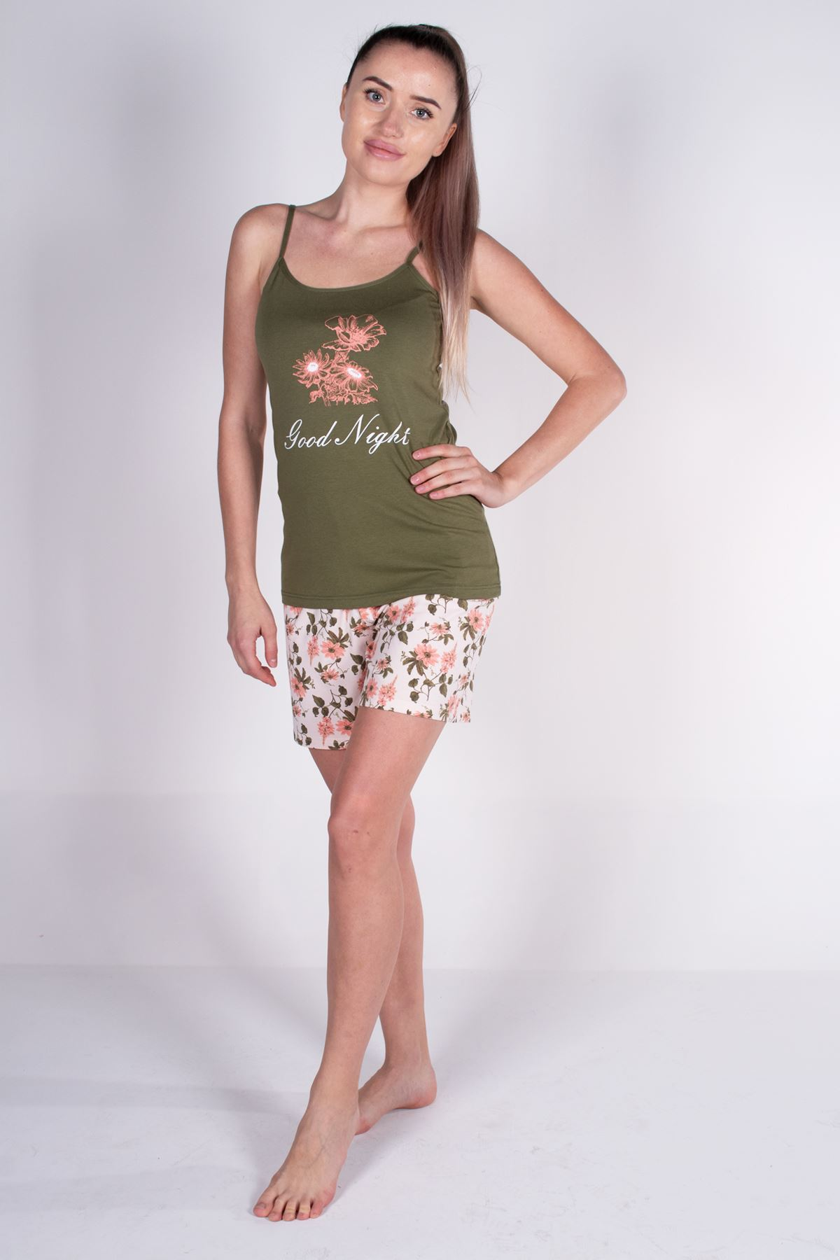 Malabadi Kadın Yeşil İp Askılı Şortlu Modal Pijama Takımı 5006