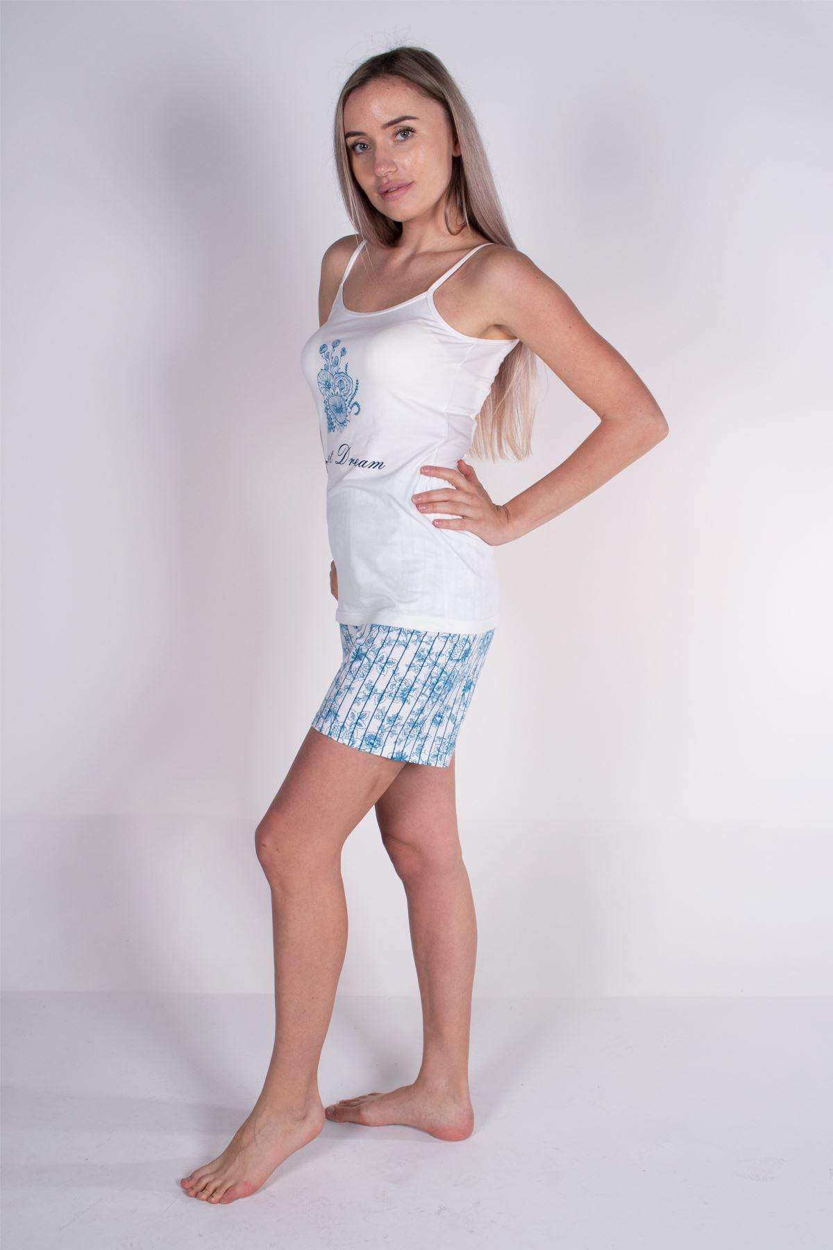 Malabadi Kadın Ekru İp Askılı Şortlu Modal Pijama Takımı 5006