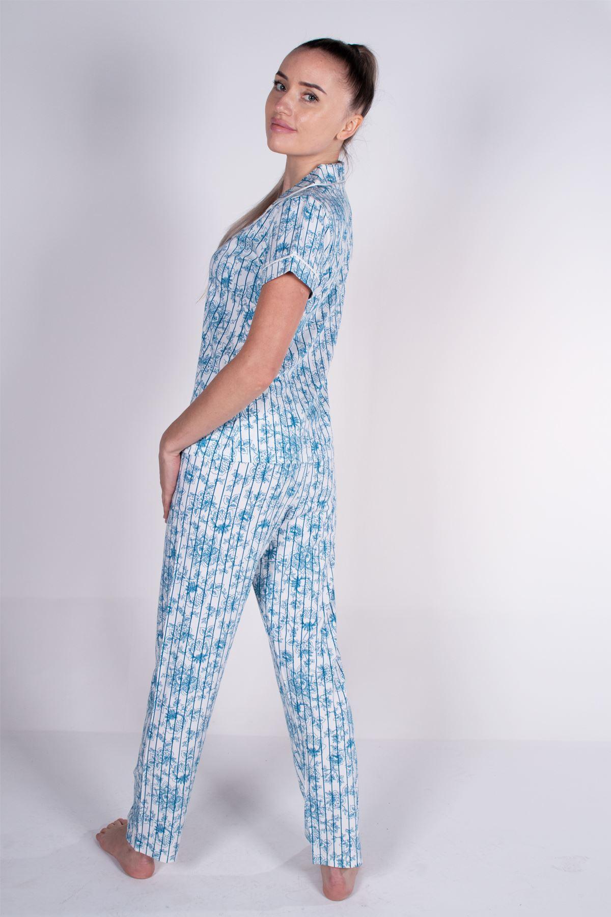 Malabadi Kadın Mavi Çizgili Düğmeli Likralı Modal Yazlık Pijama Takımı 5004