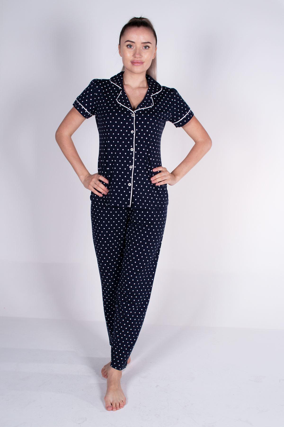 Malabadi Kadın Lacivert Puantiyeli Düğmeli Likralı Modal Yazlık Pijama Takımı 5004