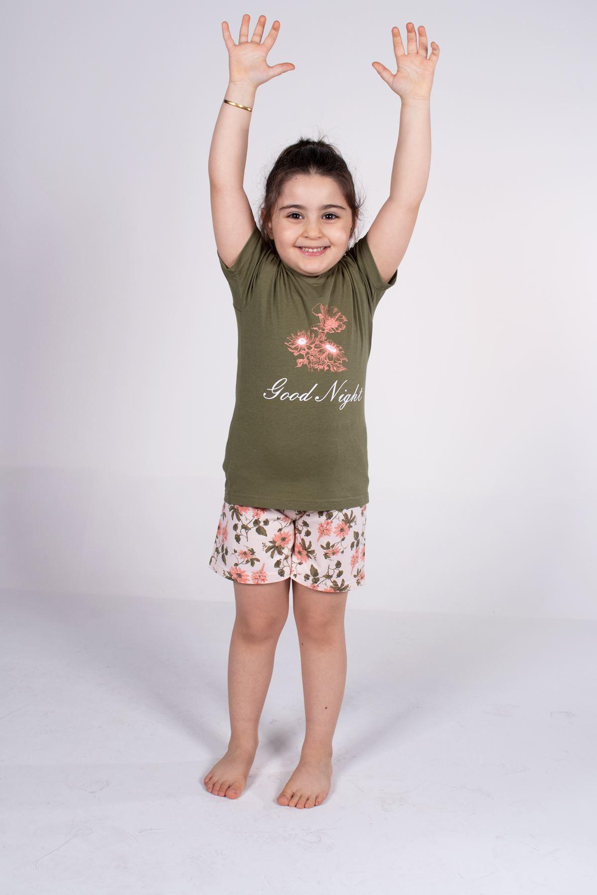 Malabadi Kız Çocuk Yeşil Kısa Kollu Yazlık Pijama Baskılı Şortlu Takım 4004