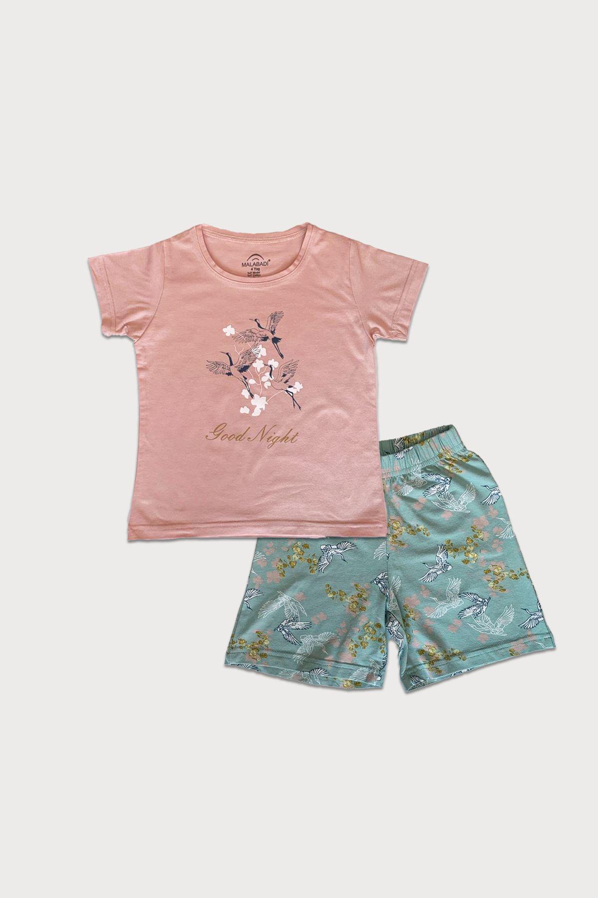 Malabadi Kız Çocuk Pudra Kısa Kollu Yazlık Pijama Baskılı Şortlu Takım 4004