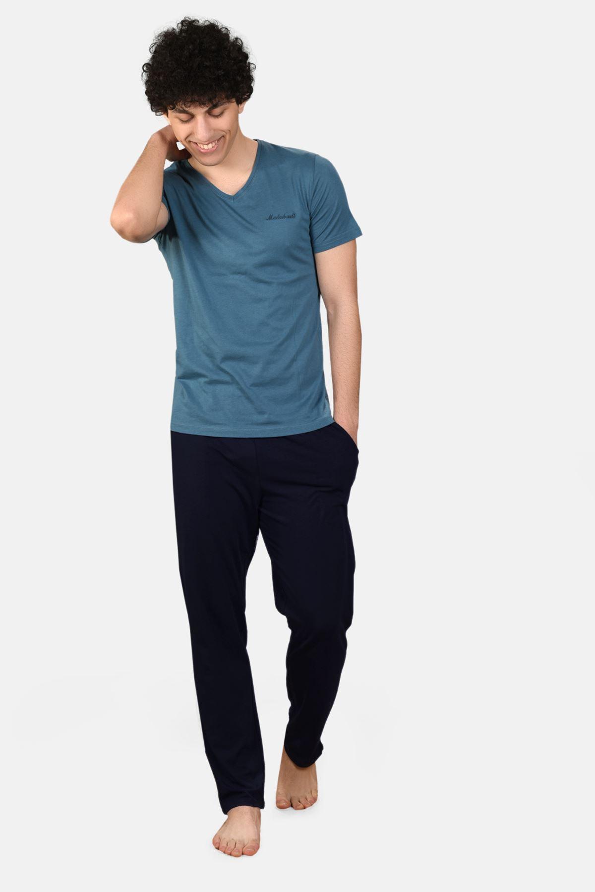 Mavi Erkek 3 lü Yazlık Pijama Takımı V Yaka 6002