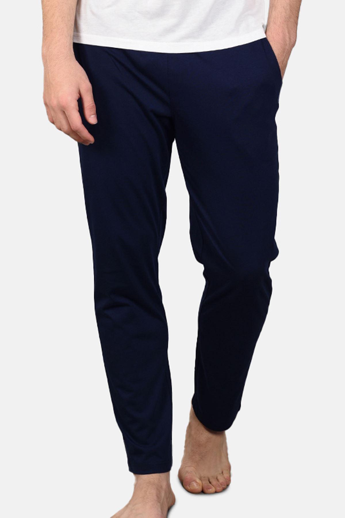 Malabadi Erkek Lacivert Alt Beyaz Üst V Yaka Yazlık Pijama Takımı M563