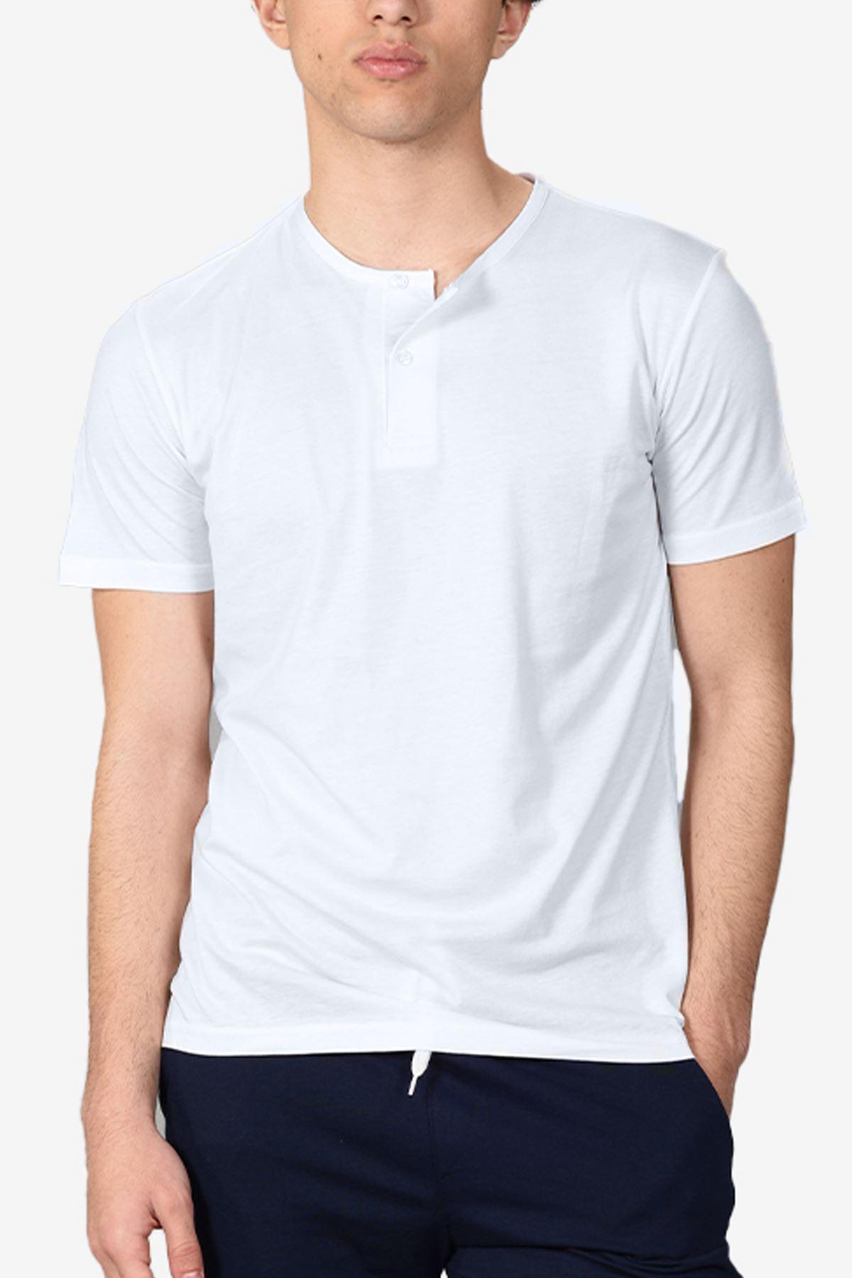 Malabadi Erkek Lacivert Alt Beyaz Üst Düğmeli Yaka Şortlu Pijama Takımı M565