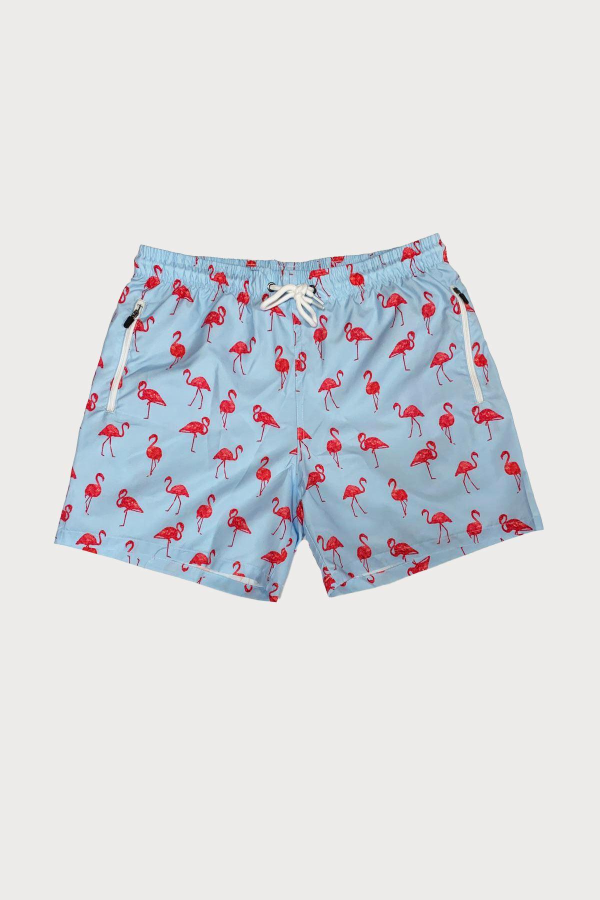 Malabadi Erkek Mavi Flamingo Baskılı Deniz Şortu MLB581